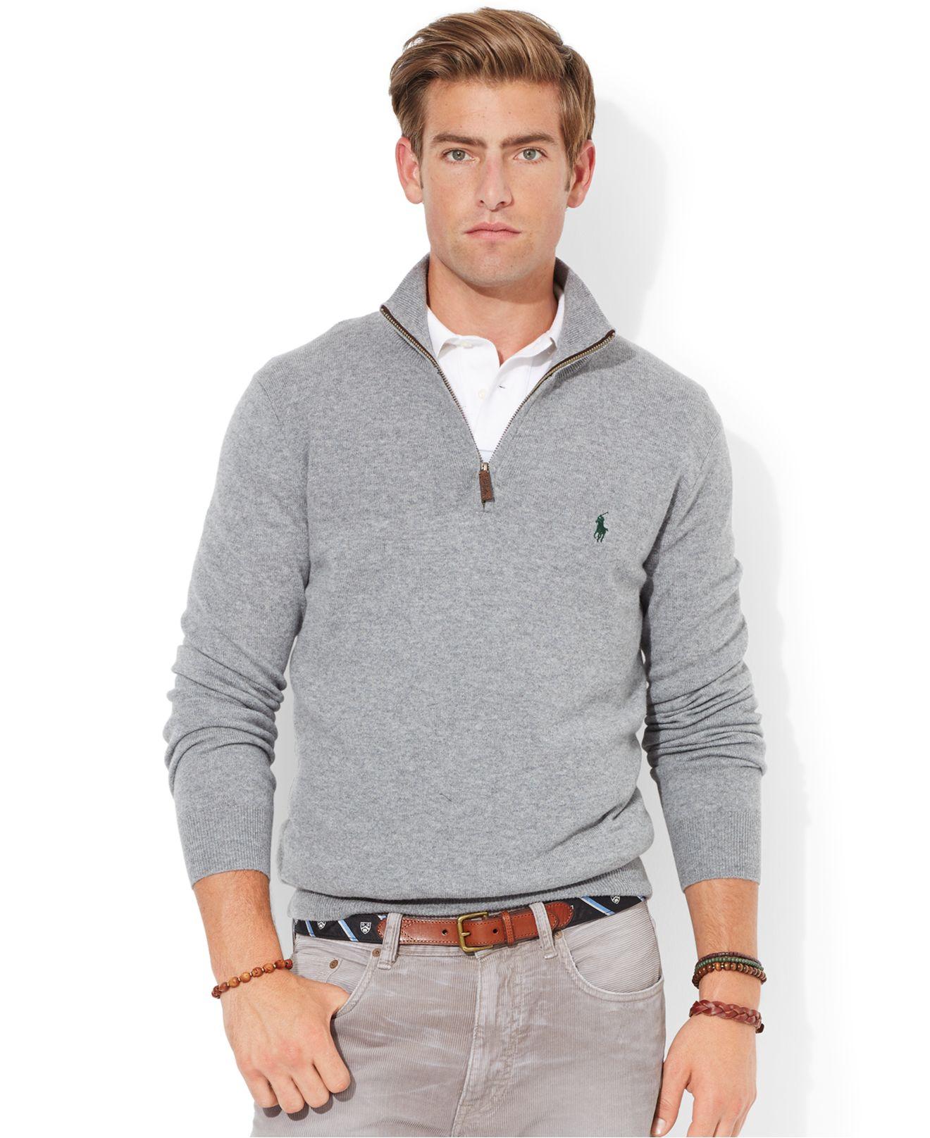 bbf05863ad9c Lyst - Polo Ralph Lauren Merino Wool Half-Zip Sweater in Gray for Men