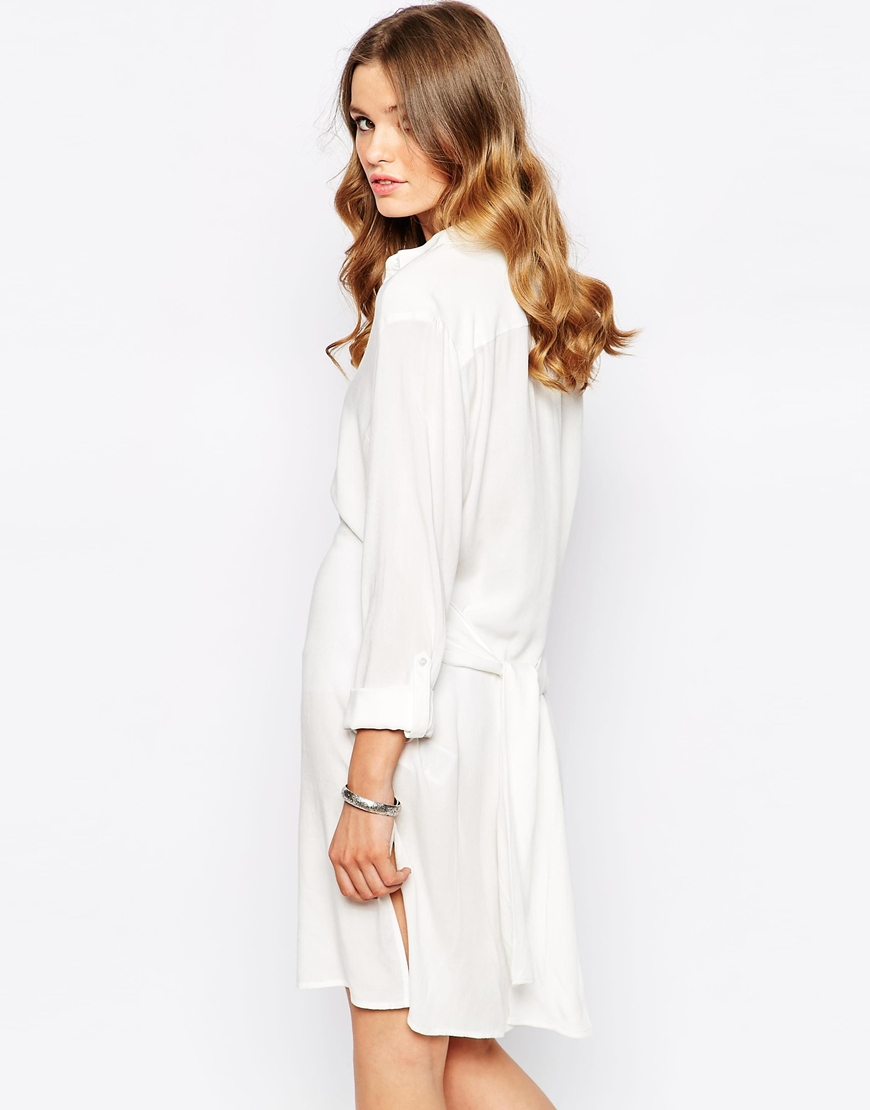 Lyst first i tie waist shirt dress in white for White dress workout shirt