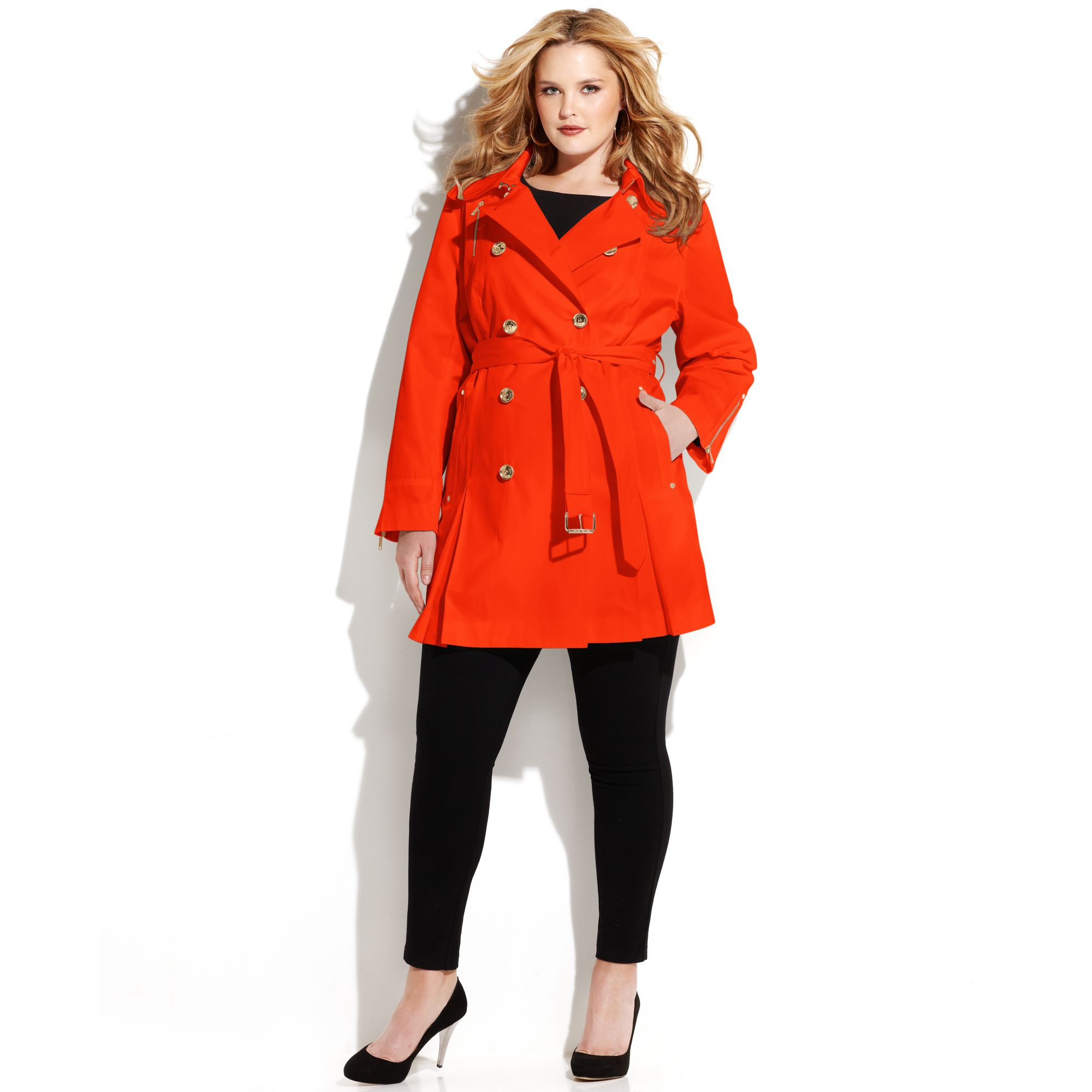 8c4ea9d663a5 Michael Kors Plus Size Double Breasted Belted Trench Coat in Red - Lyst