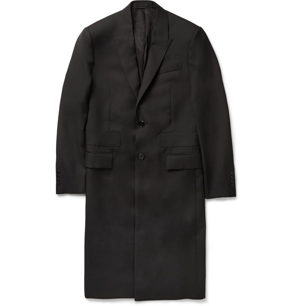 Givenchy Band-Trimmed Wool Overcoat in Black for Men | Lyst