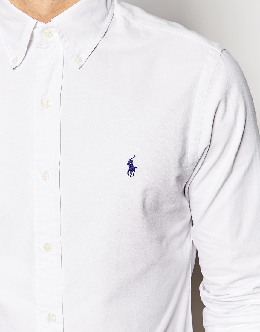 274c4785662fe Polo Ralph Lauren Oxford Shirt In Slim Fit - White in White for Men - Lyst