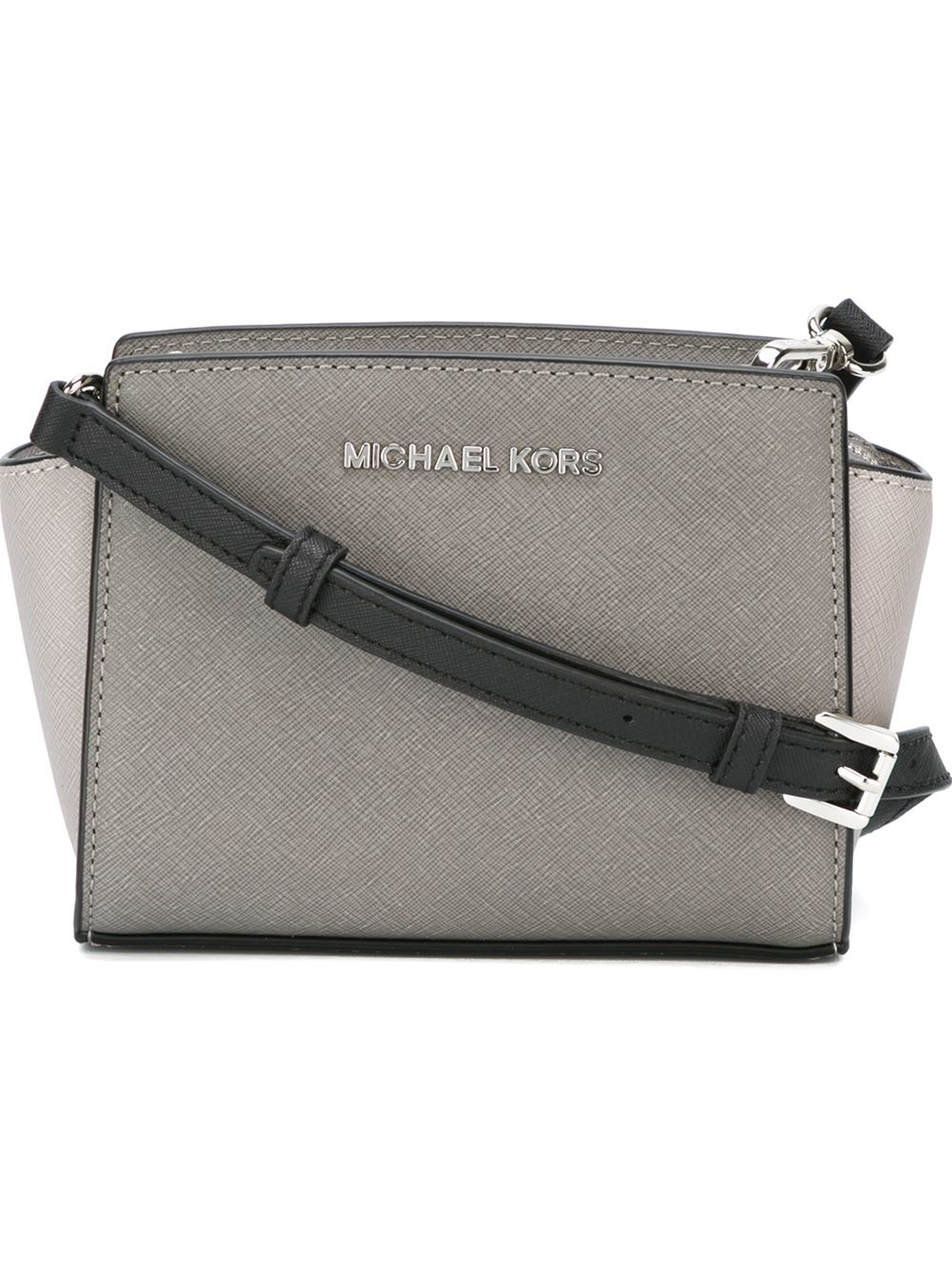 8679b06d18bb Lyst - MICHAEL Michael Kors Borsa Mini Messenger Selma in Gray
