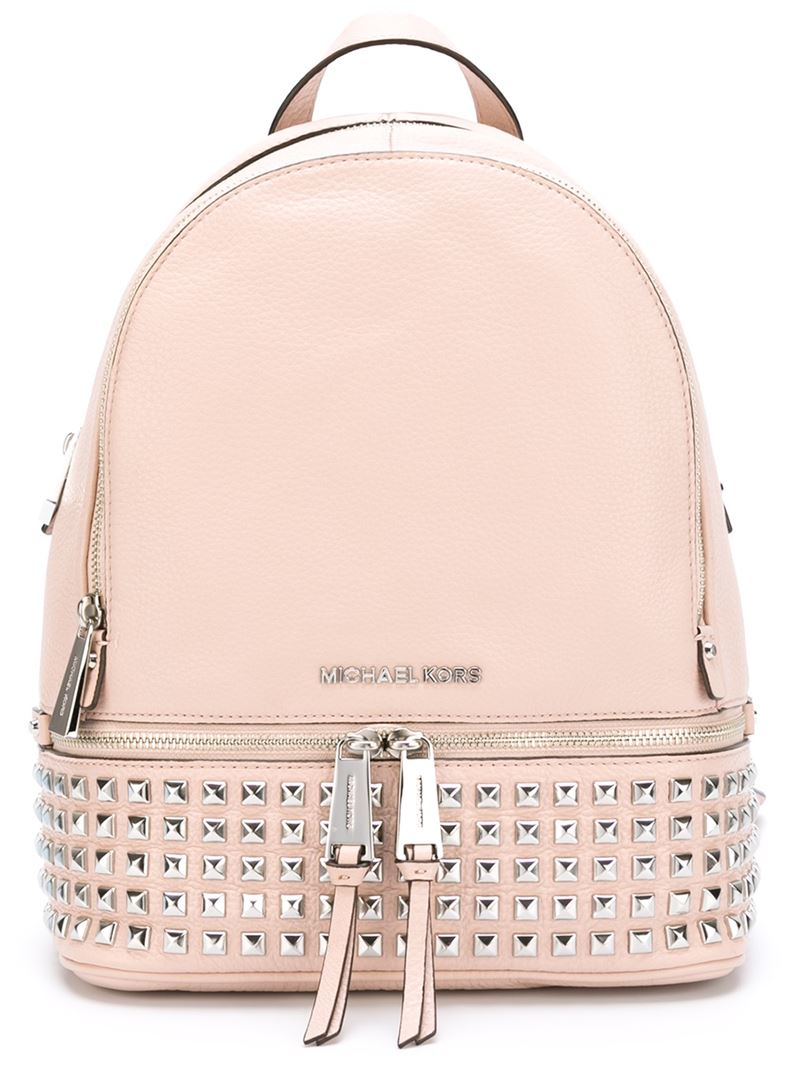 c37cd582bbb4 ... new zealand lyst michael michael kors rhea backpack in pink d1ff1 77e1c