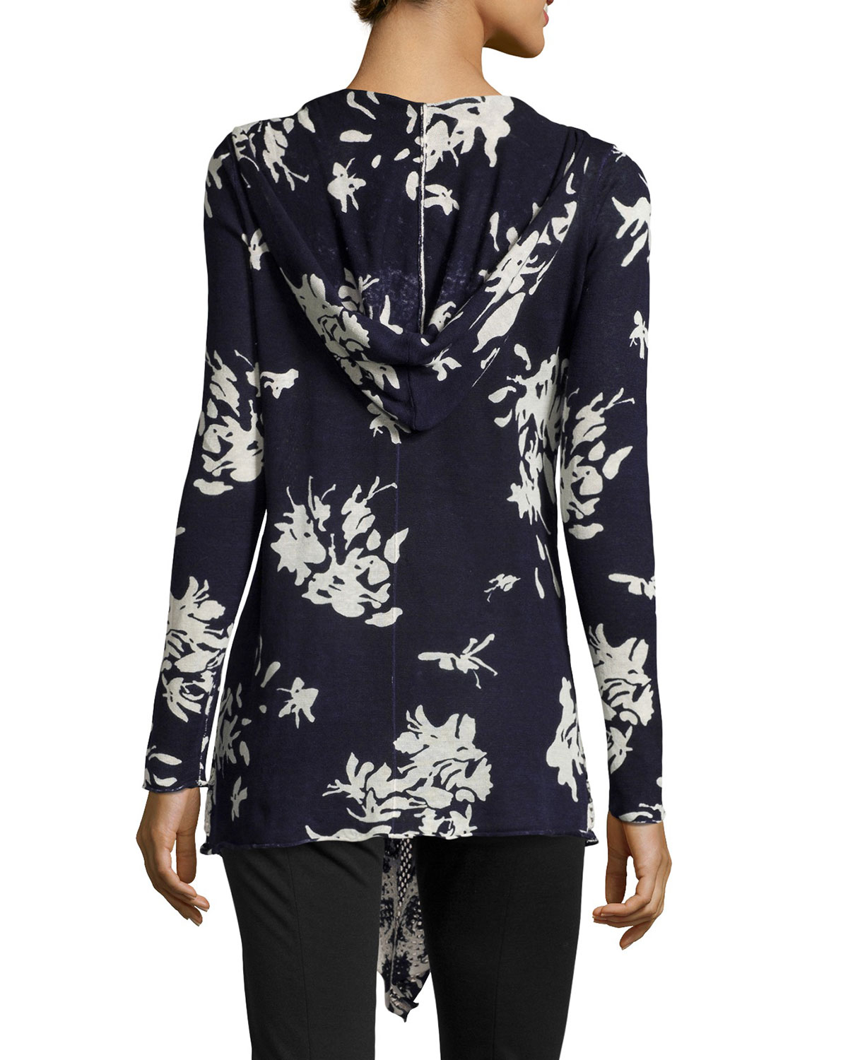Neiman marcus Draped Floral-print Hooded Cardigan in Blue | Lyst