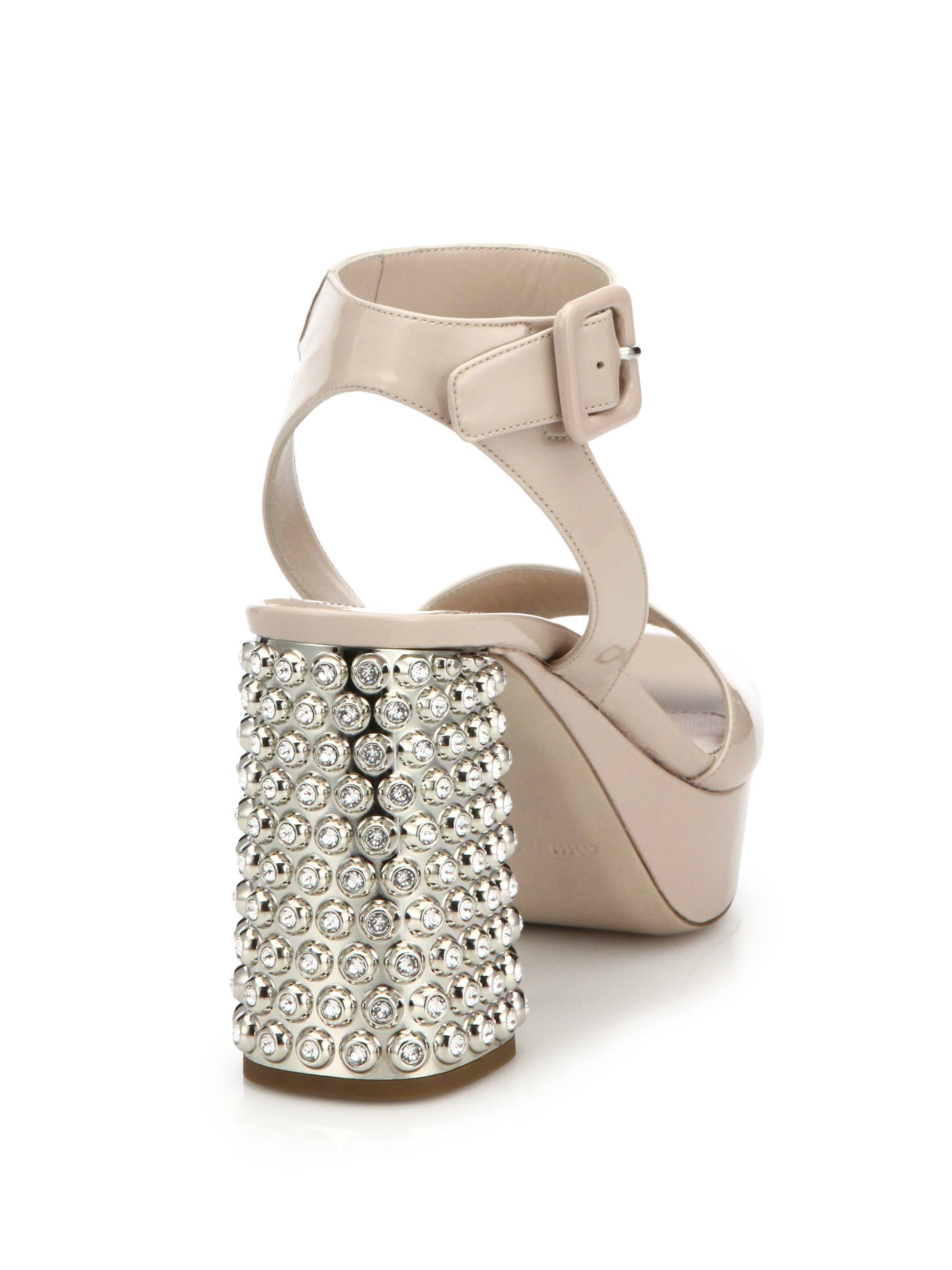 8610f17896fb Lyst - Miu Miu Crystal   Metal-heel Patent Leather Sandals in Pink