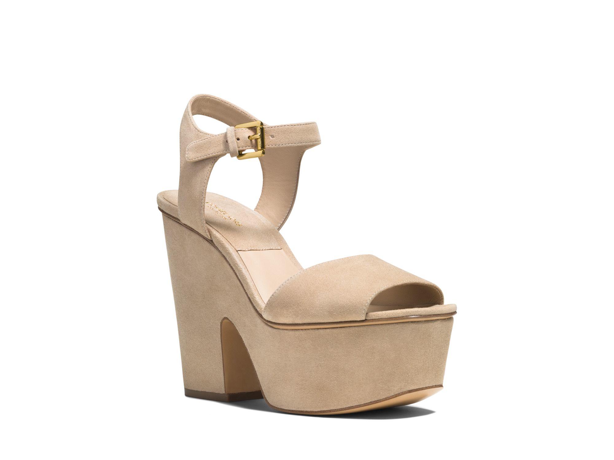 aa13d5ac6db Lyst - Michael Kors Platform Sandals - Harley Suede High Heel in Natural