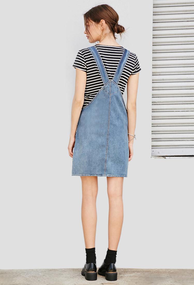 forever 21 denim overall dress in blue lyst