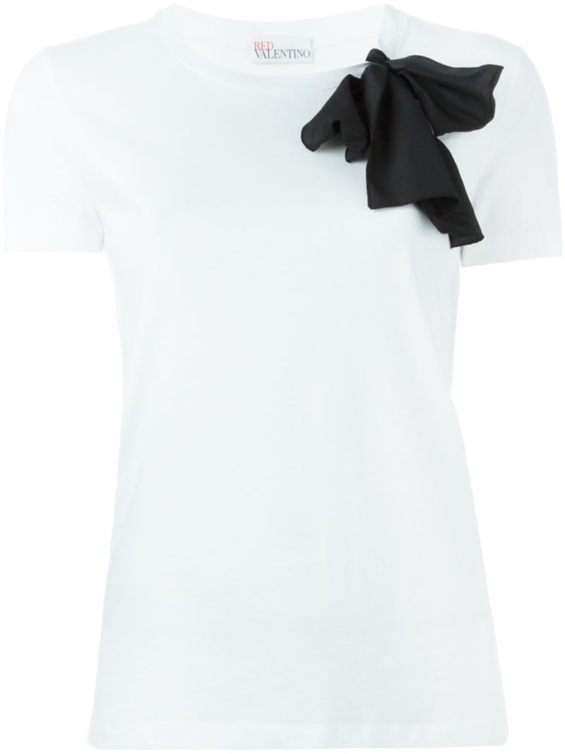 Red valentino bow t shirt in white lyst for Red valentino t shirt