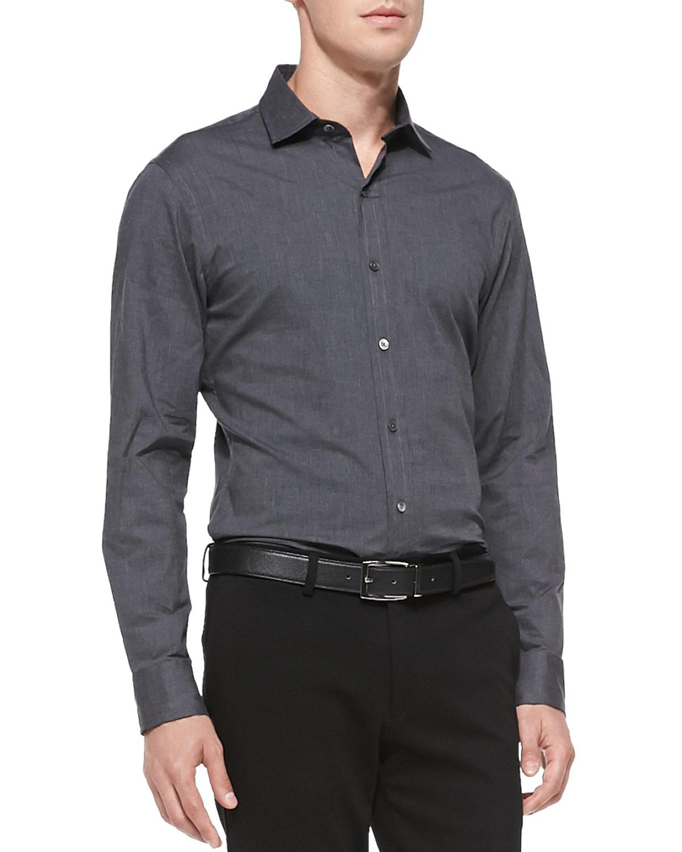 Ralph lauren black label stretch poplin button down shirt for Mens grey button down dress shirt