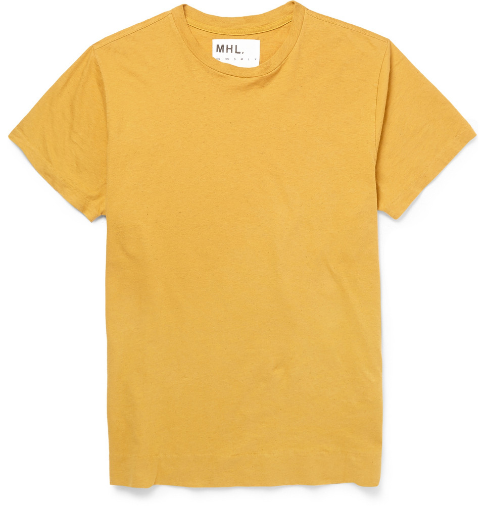 d046743cccc Margaret Howell Mhl Cotton And Linen-Blend T-Shirt in Yellow for Men ...