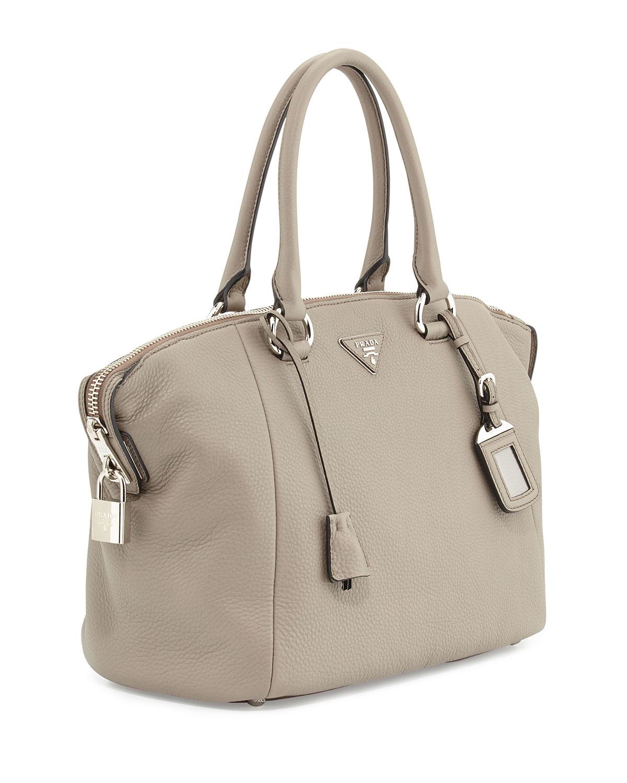 prada messenger nylon bag - Prada Vitello Daino Satchel Bag in Gray (LIGHT GREY) | Lyst