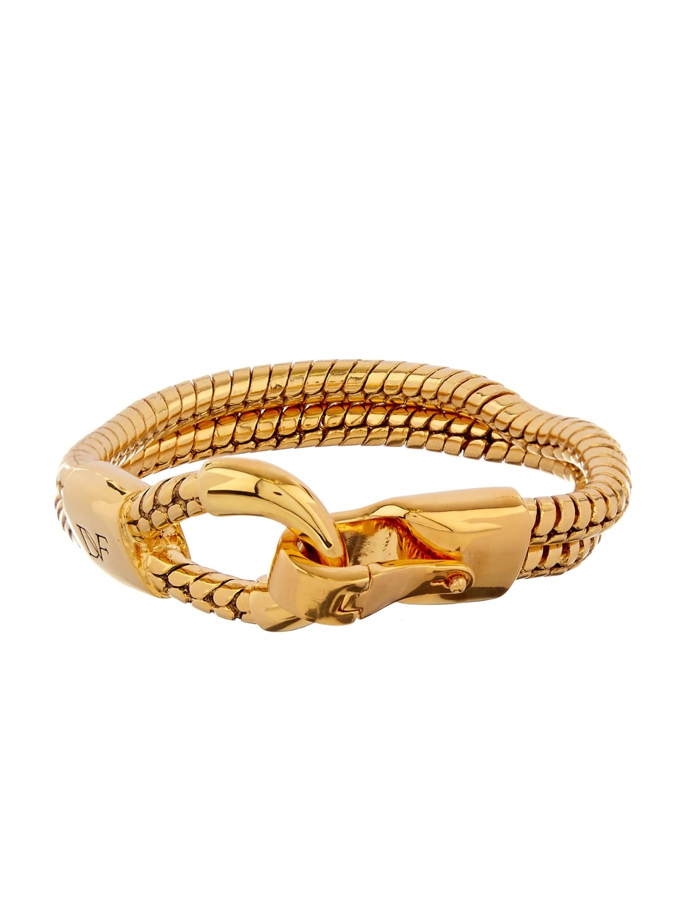diane furstenberg snake chain gold plated bracelet in