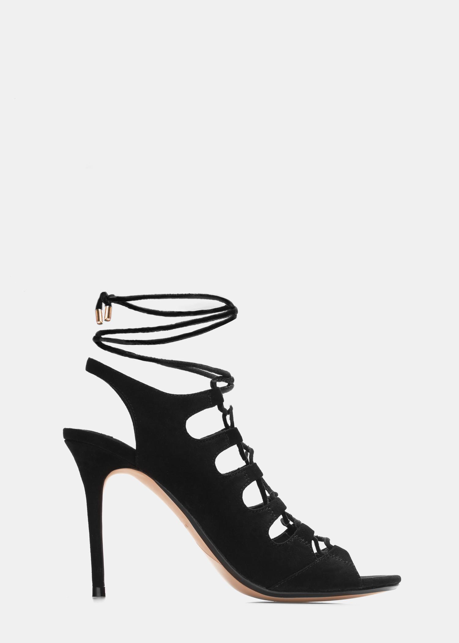 588b0f76ec3 Lyst - Mango Slingback Lace-up Sandals in Black