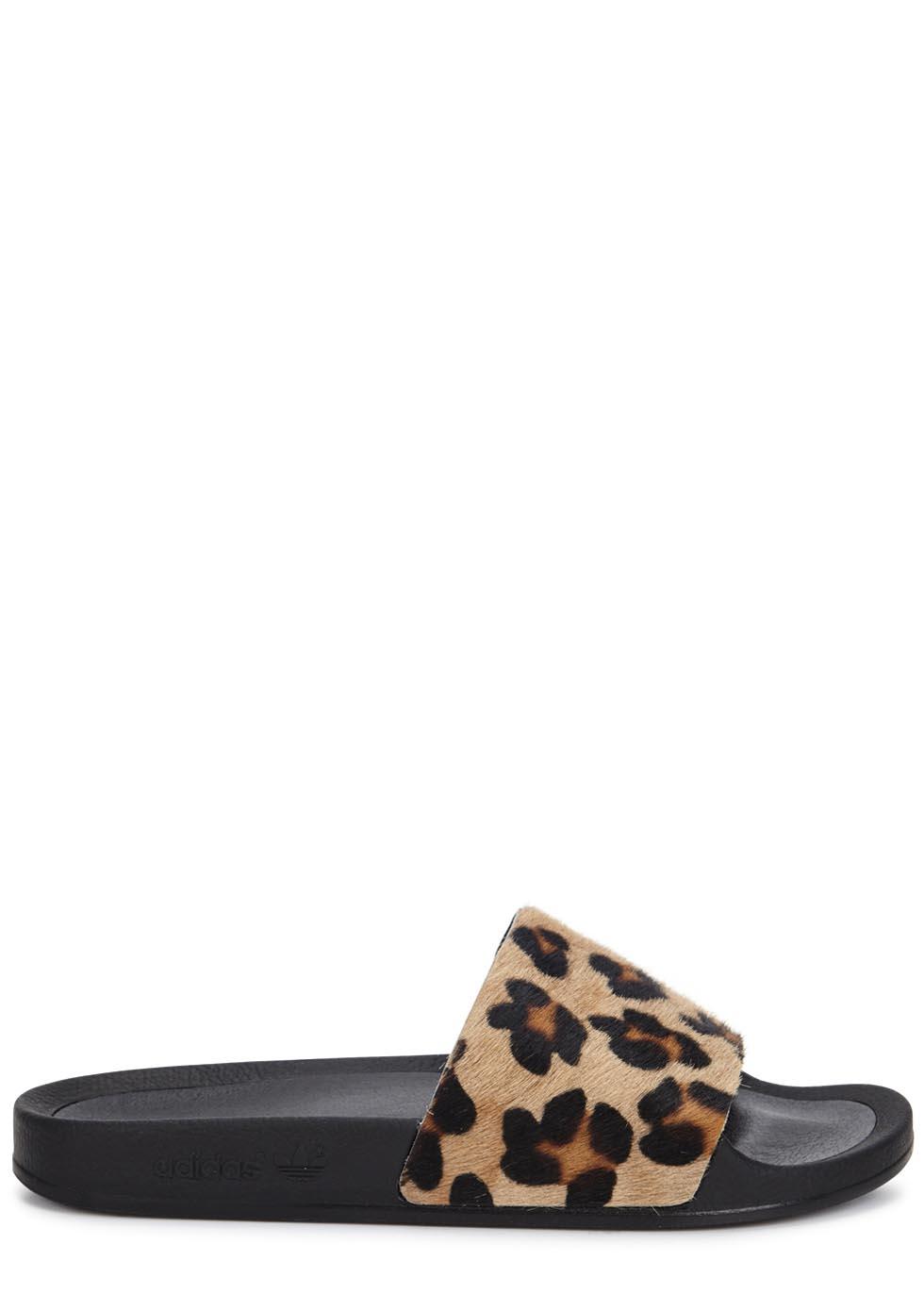 b191e17e0737 adidas Originals Adilette Leopard-print Calf Hair Sliders - Lyst