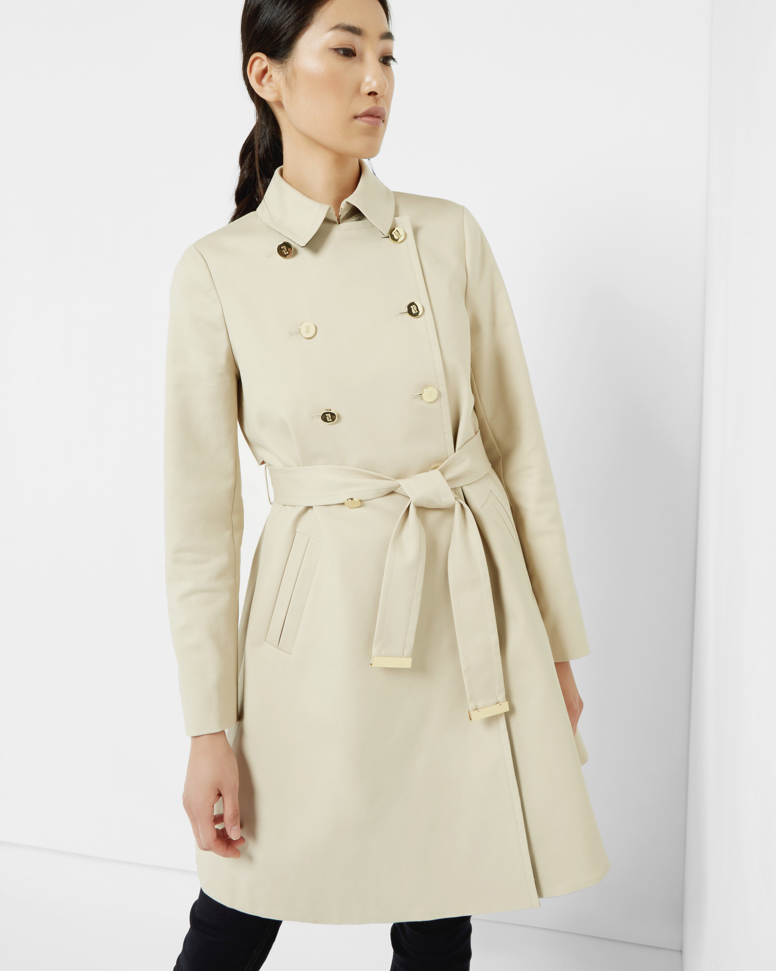 85764507c1d63a Lyst - Ted Baker Double Breasted Trench Coat in Natural
