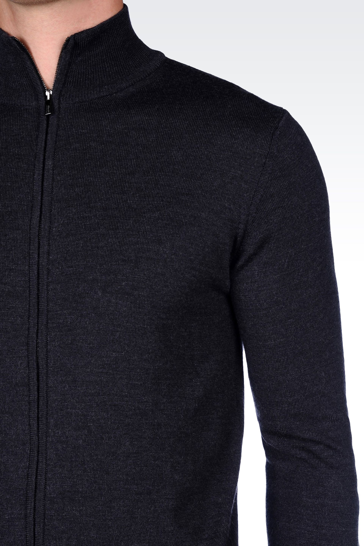 Armani Full Zip Cardigan In Virgin Wool in Gray for Men | Lyst