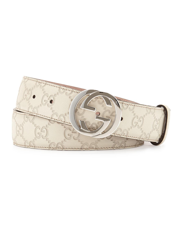 Gucci Interlocking G-buckle Leather Belt in White | Lyst