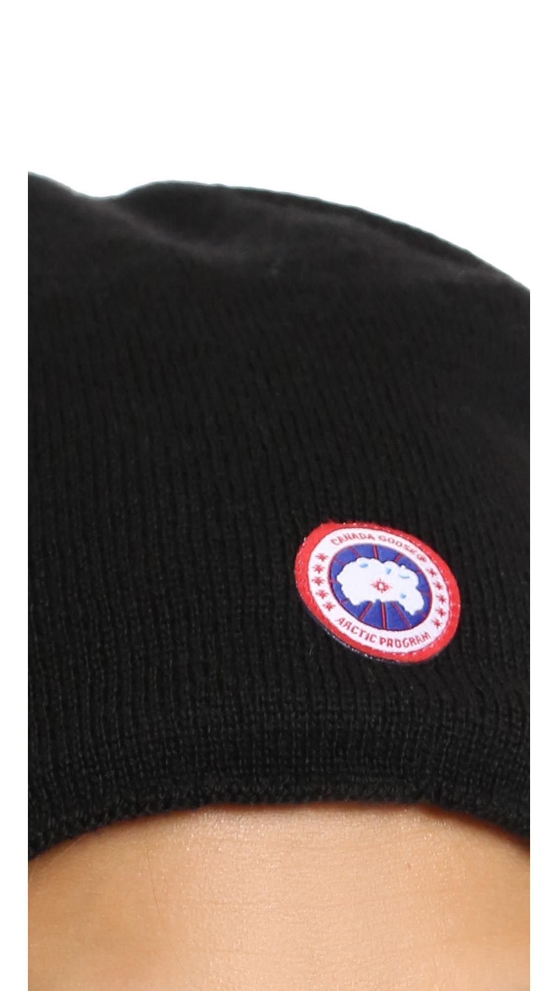 Canada Goose mens replica official - Canada goose Merino Wool Beanie - Graphite in Black | Lyst