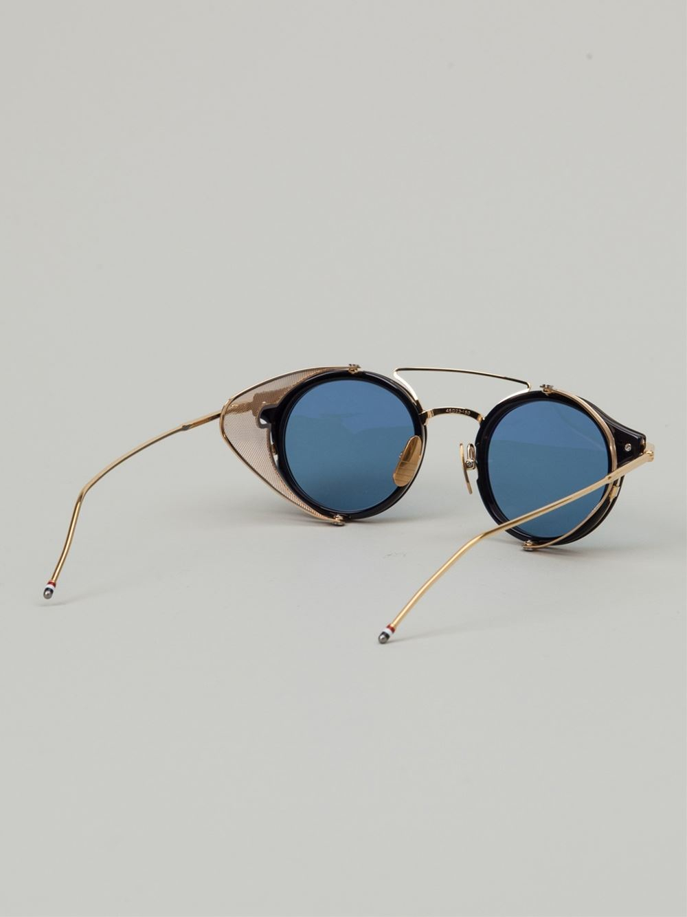 Round Gold Frame Sunglasses By Thom Browne : Thom browne Round Frame Sunglasses in Gold (blue) Lyst