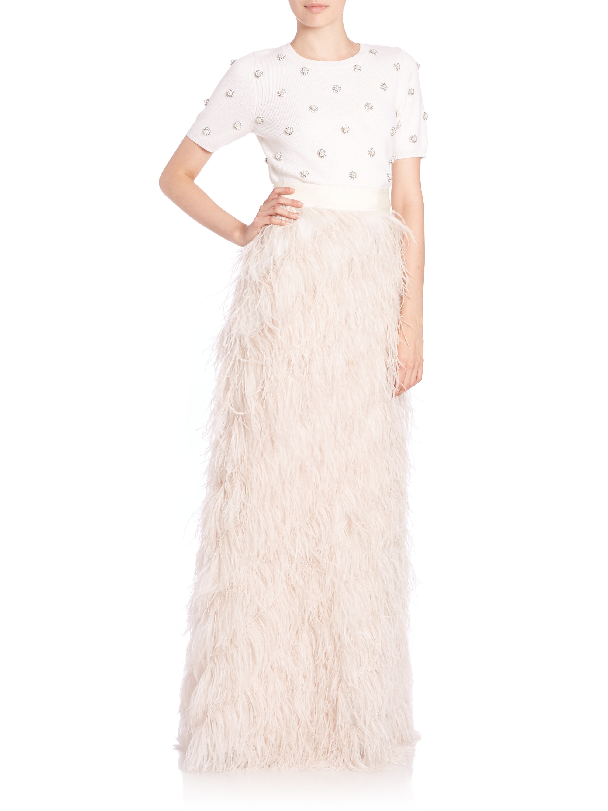 5bebe9c7c Alice + Olivia Sherelle Feather Maxi Skirt in White - Lyst