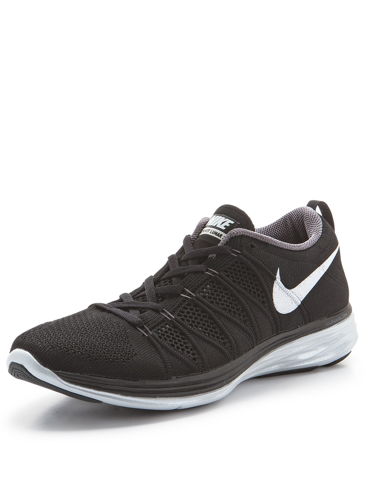 nike flyknit lunar 2 mens running trainers in black for. Black Bedroom Furniture Sets. Home Design Ideas