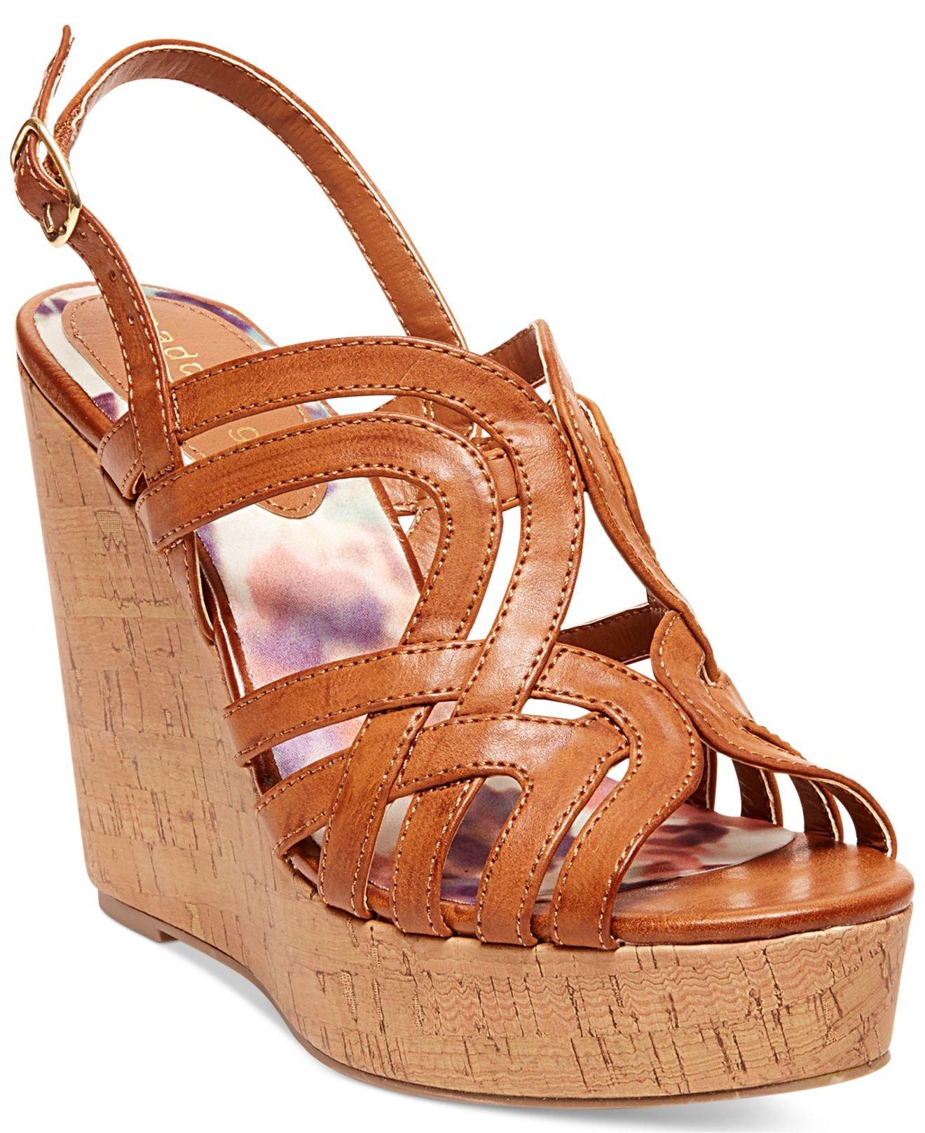 Madden Girl Eliite Cork Platform Wedge Sandals In Orange