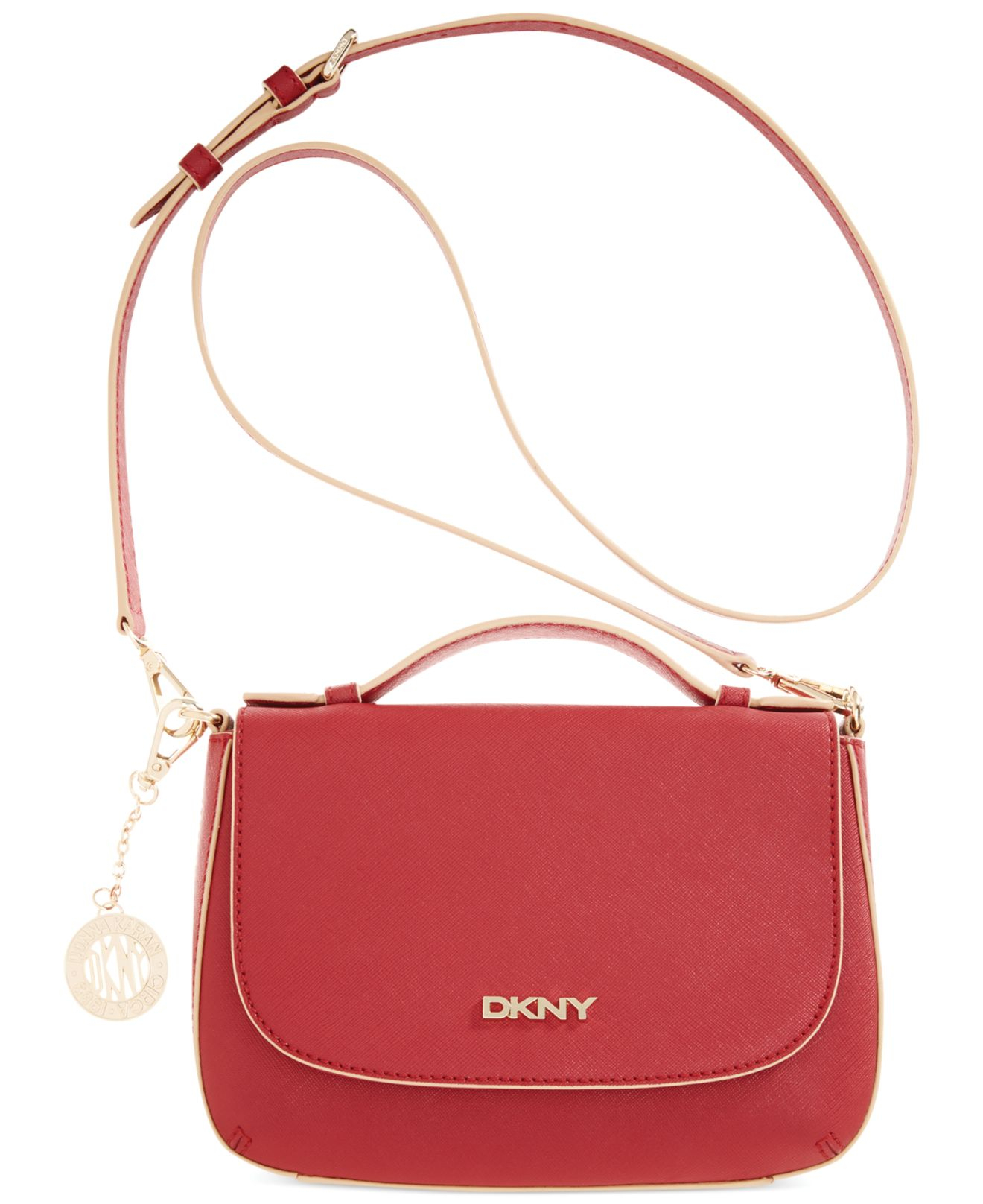 dkny bryant park saffiano flap crossbody in red lyst. Black Bedroom Furniture Sets. Home Design Ideas
