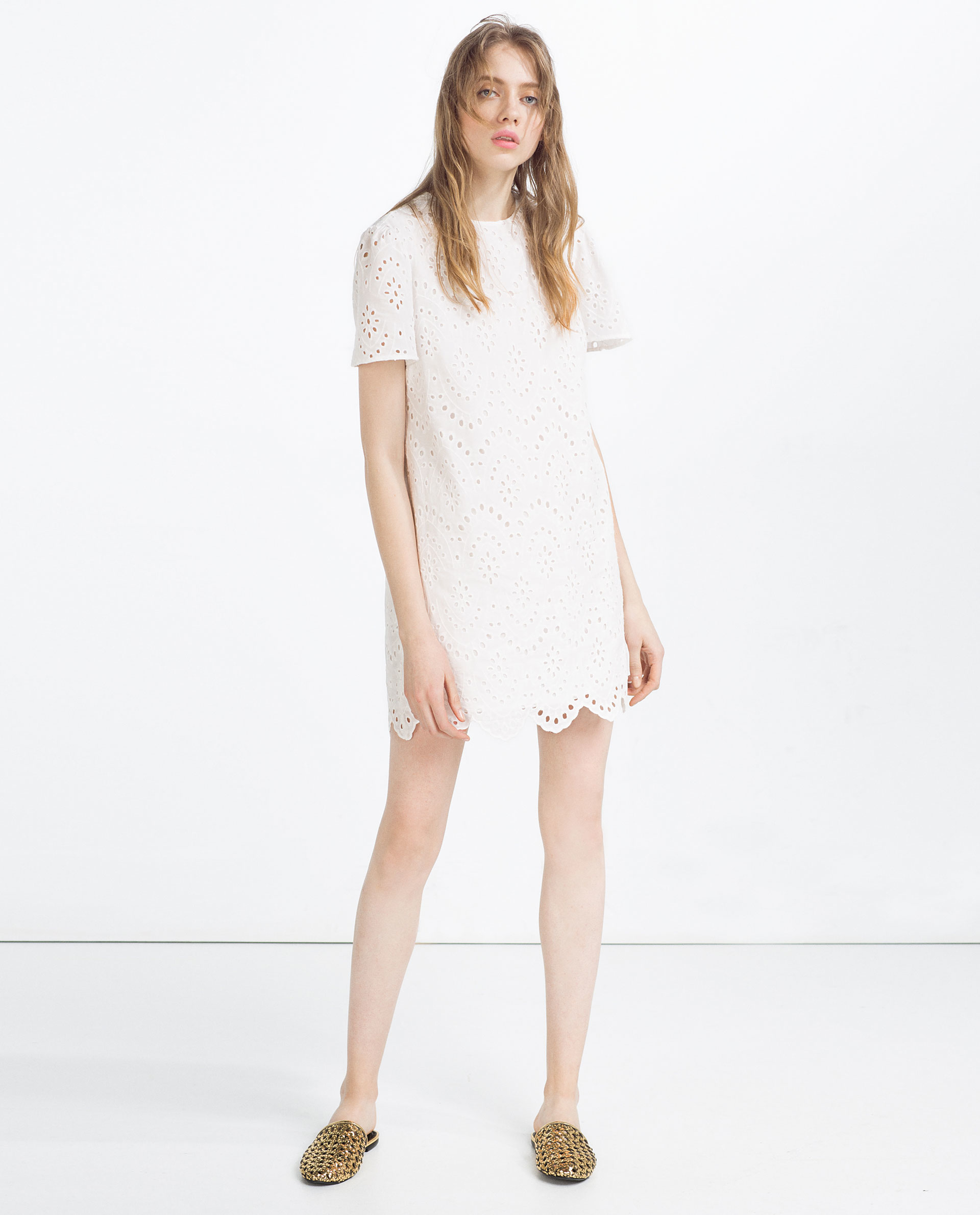White dress at zara - Zara Embroidered Dress In White Off White Lyst Zara Embroidered Dress In White Off White