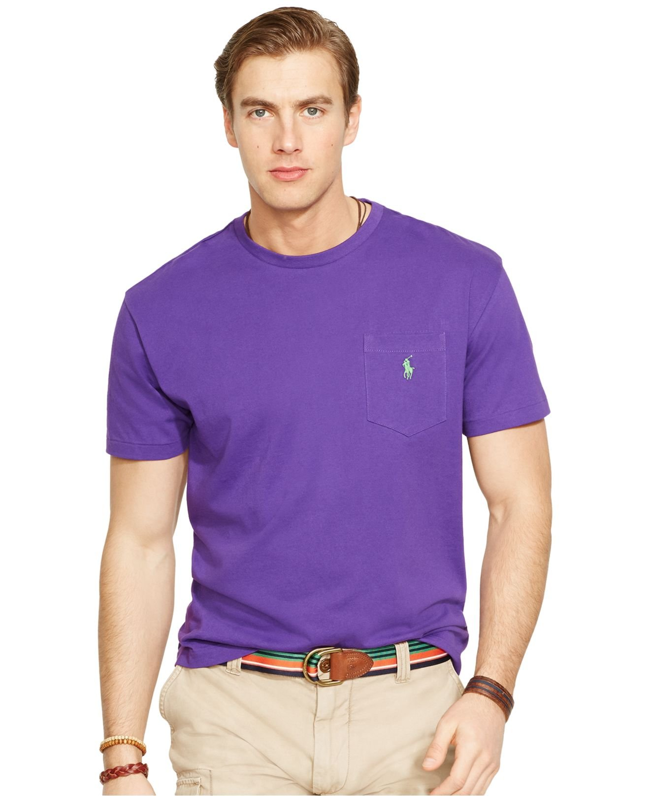lyst polo ralph lauren crew neck pocket t shirt in purple for men. Black Bedroom Furniture Sets. Home Design Ideas