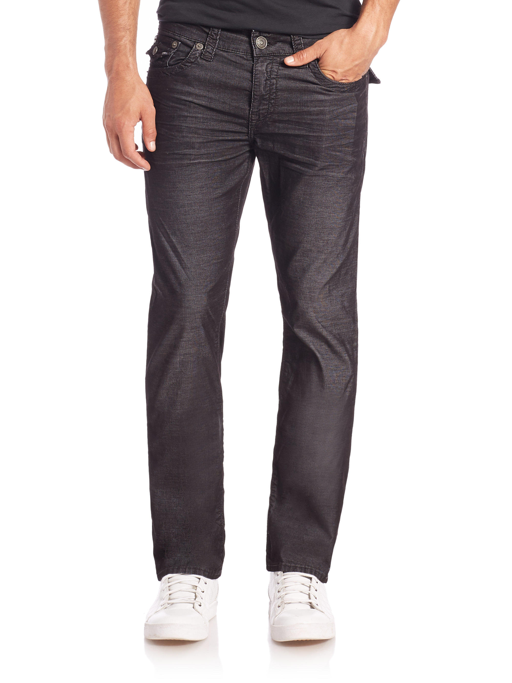 True religion Ricky Relaxed Straight Leg Jeans in Black ...