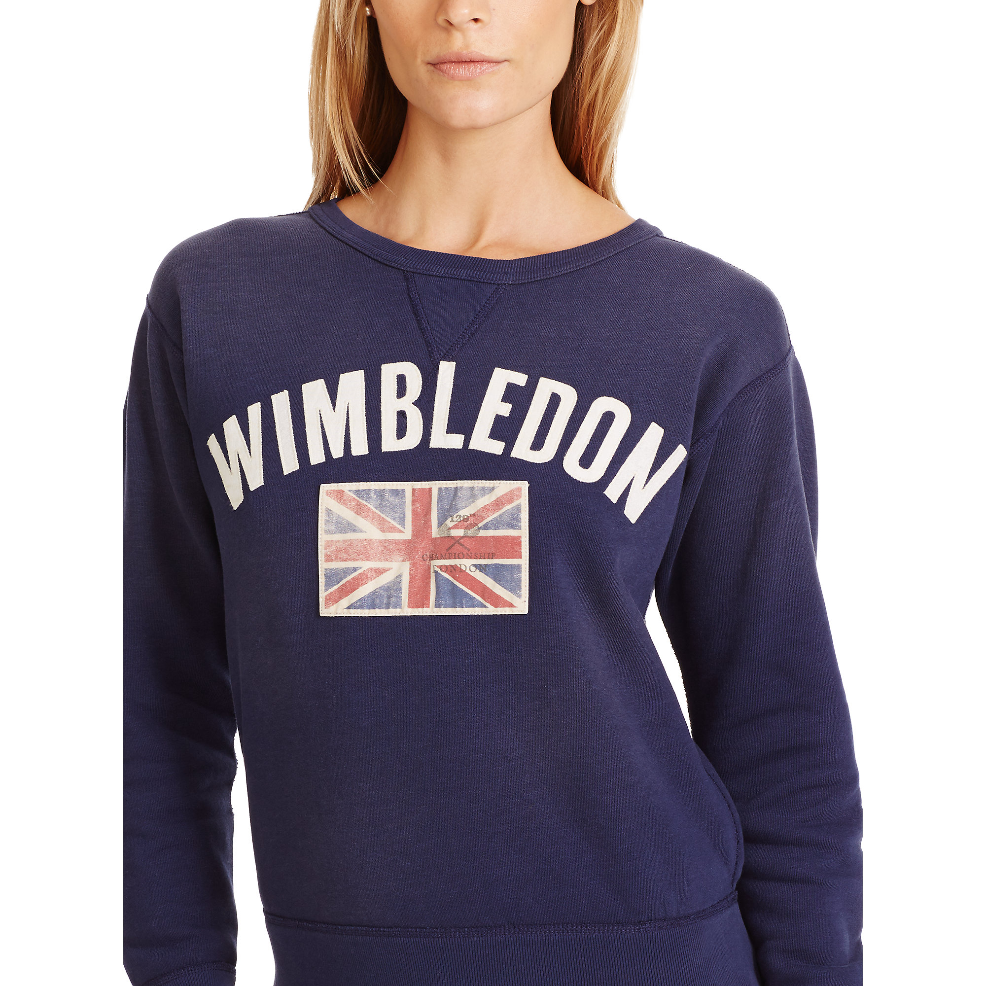 polo ralph lauren wimbledon fleece sweatshirt in blue lyst. Black Bedroom Furniture Sets. Home Design Ideas