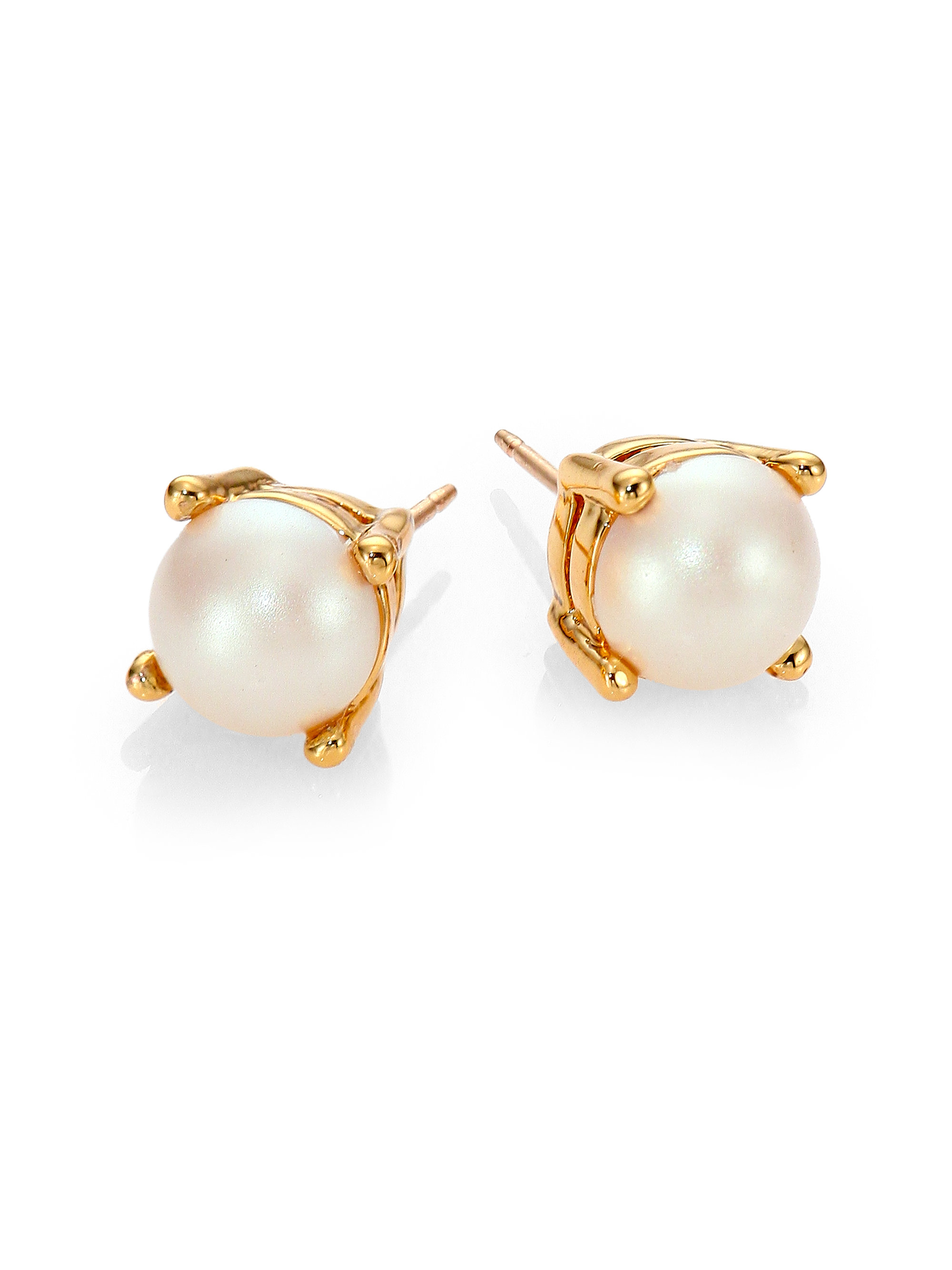 c670d78e0 Kate Spade New York Gold Tone Pavé Imitation Pearl Stud Earrings. Gallery.  Lyst Kate Spade Cueva Rosa Faux Pearl Stud Earrings In White