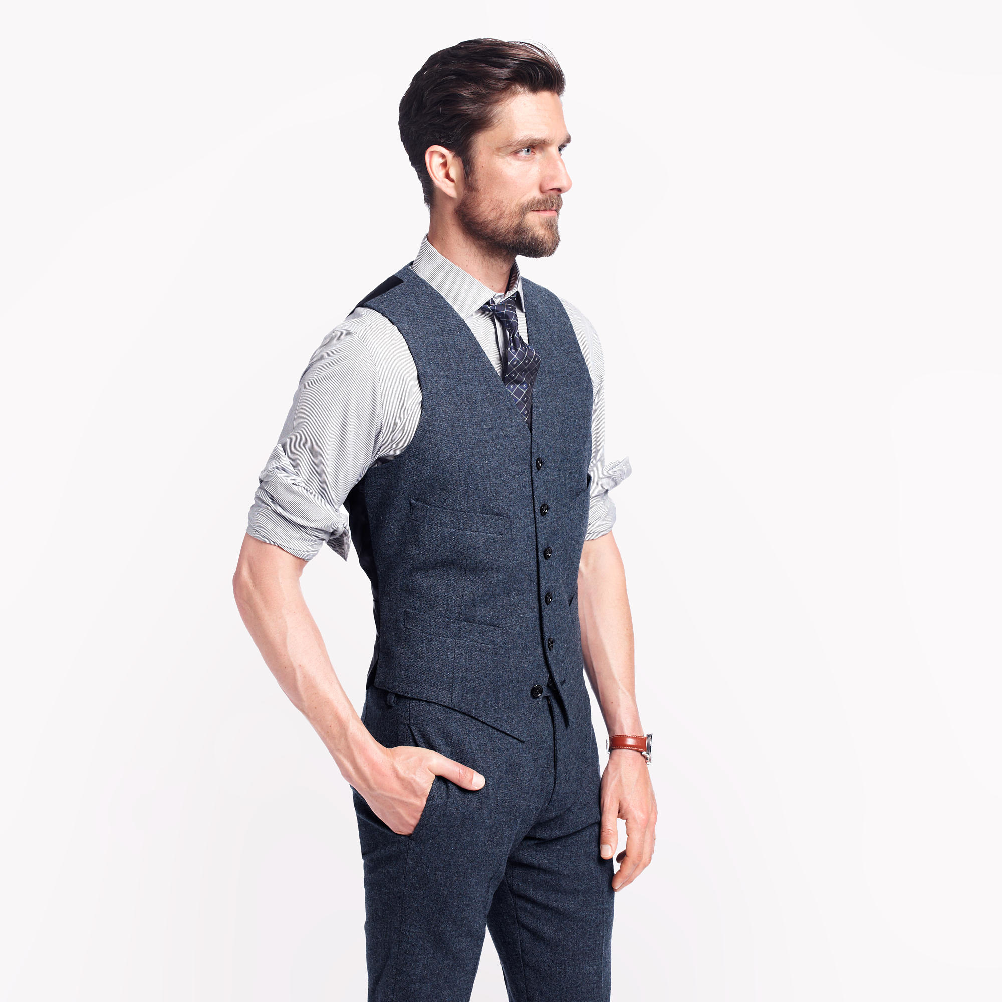 Then look to suit separates for a vest worthy of the occasion. Experiment with fabrics like velvet for a fresh update. Finish your look with your favorite pair of trousers, button-up shirt and dress shoe.