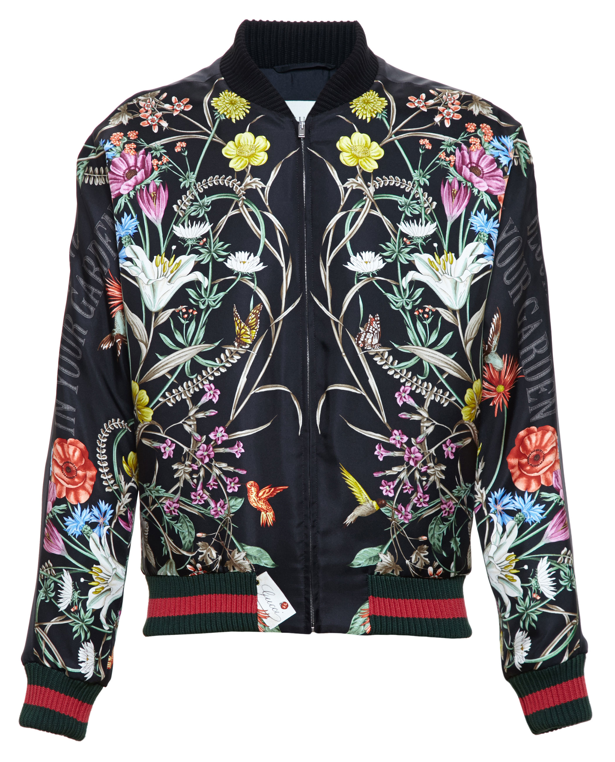 Gucci Floral Print Embroidered Silk Bomber Jacket In Black