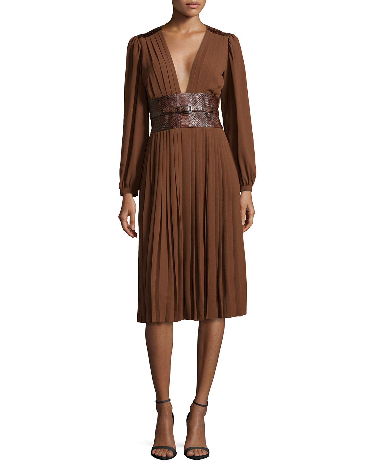 Michael kors Pleated Dress With Embossed Belt in Brown | Lyst