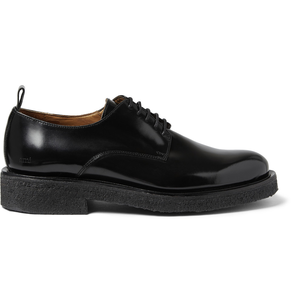 Mens Black Derby Shoes Leather