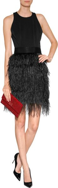 Milly Feather Dress In Black In Black Lyst
