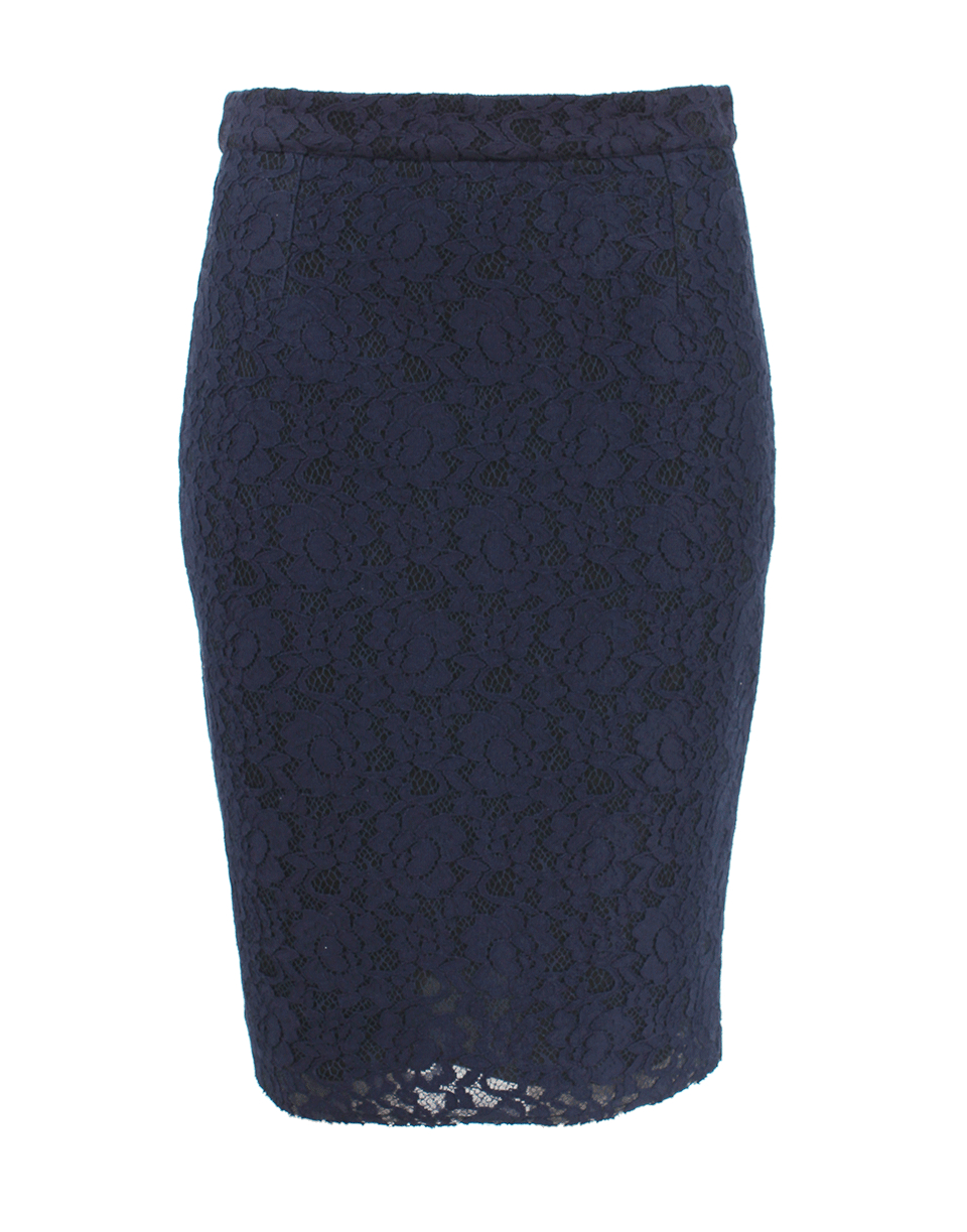 lanvin lace pencil skirt in blue navy lyst