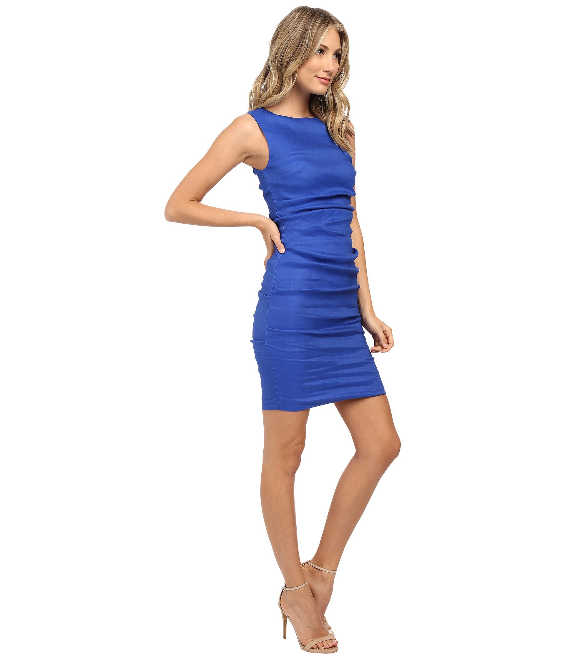 460f670e38 Lyst - Nicole Miller Lauren Stretch Linen Dress in Blue