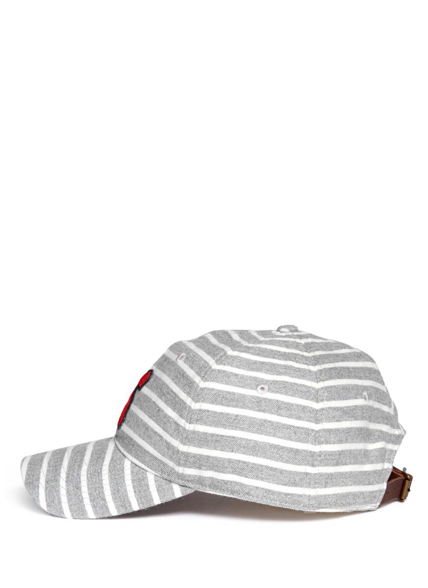 alex mill stripe flannel baseball cap in gray for