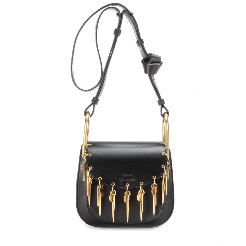 Chlo�� Hudson Mini Embellished Leather Shoulder Bag in Black | Lyst