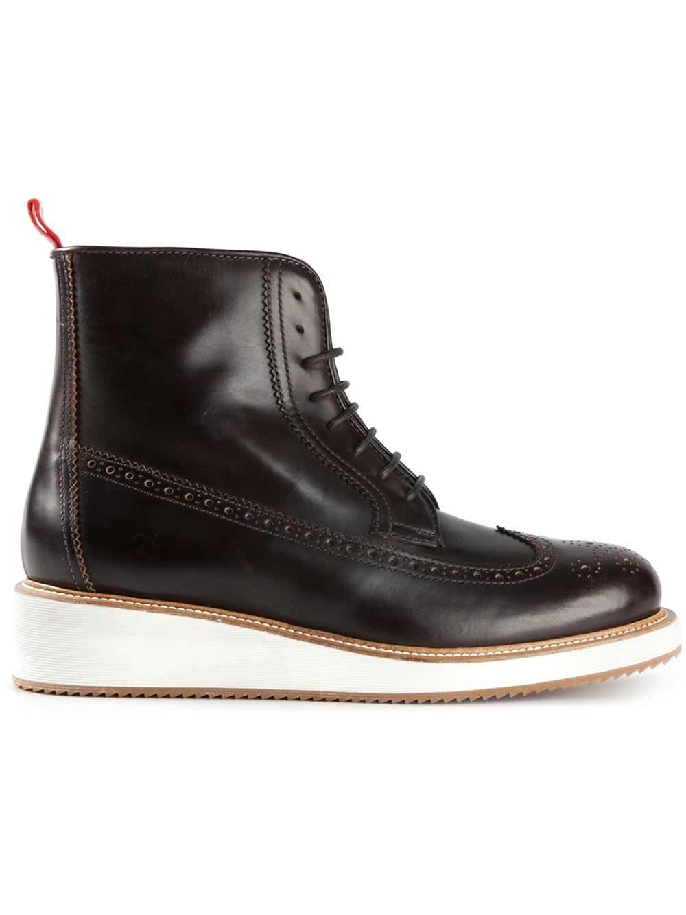 moncler brogue ankle boots in brown lyst