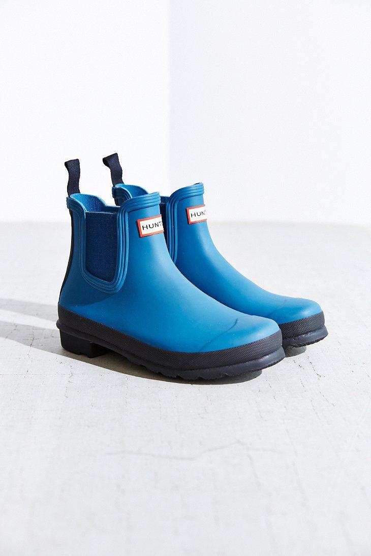 hunter original two tone chelsea rain boot in blue lyst. Black Bedroom Furniture Sets. Home Design Ideas