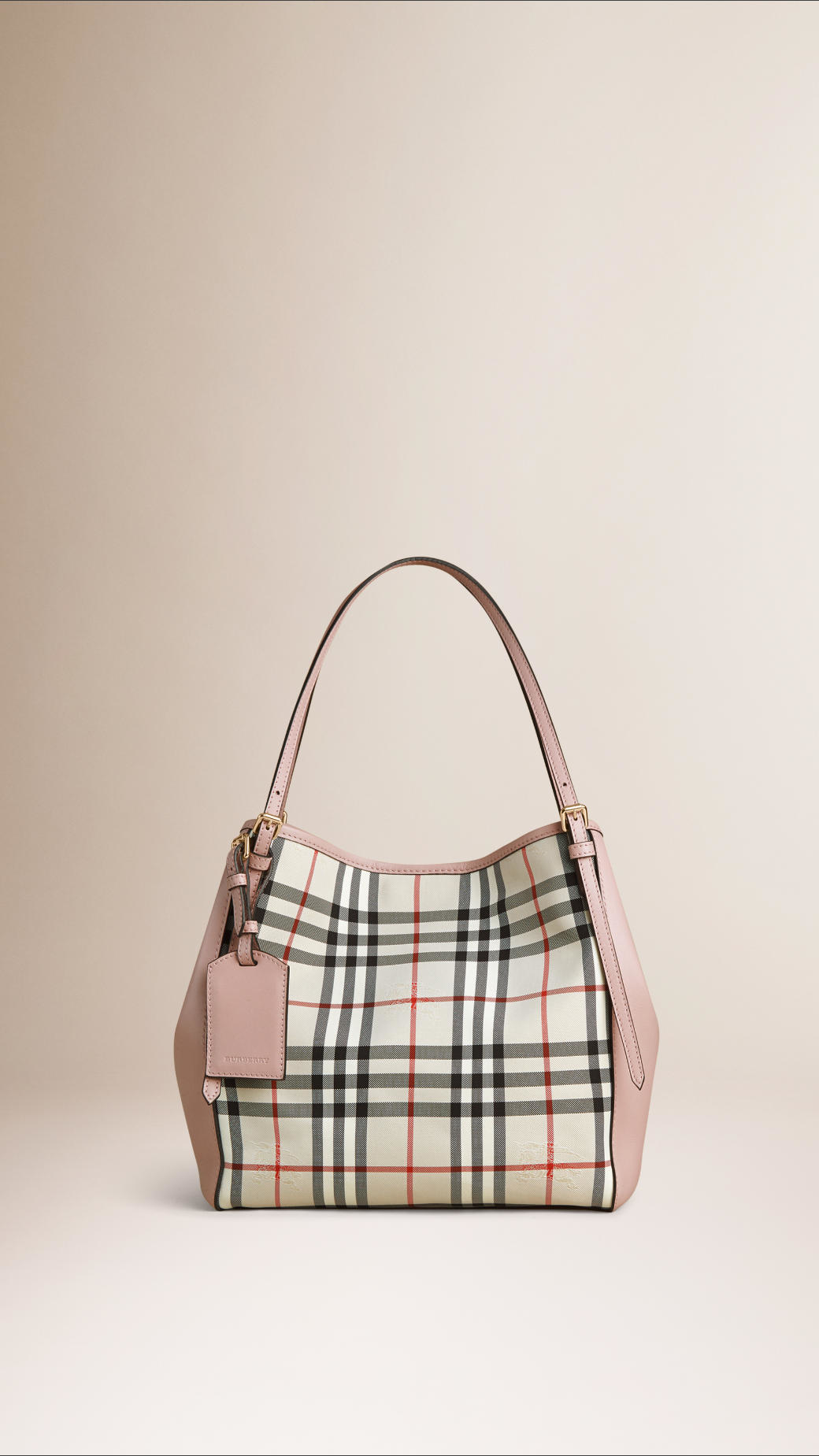 edd62963954 Burberry The Small Canter In Horseferry Check And Leather Stone/pale ...