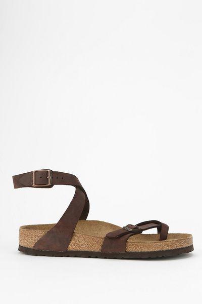 Birkenstock Yara Anklewrap Sandal In Brown Chocolate Lyst