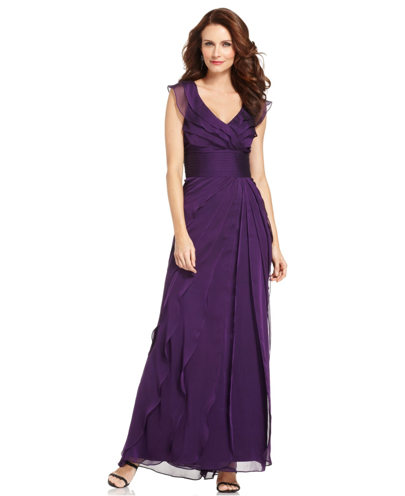 Adrianna papell Tiered Evening Dress in Purple  Lyst