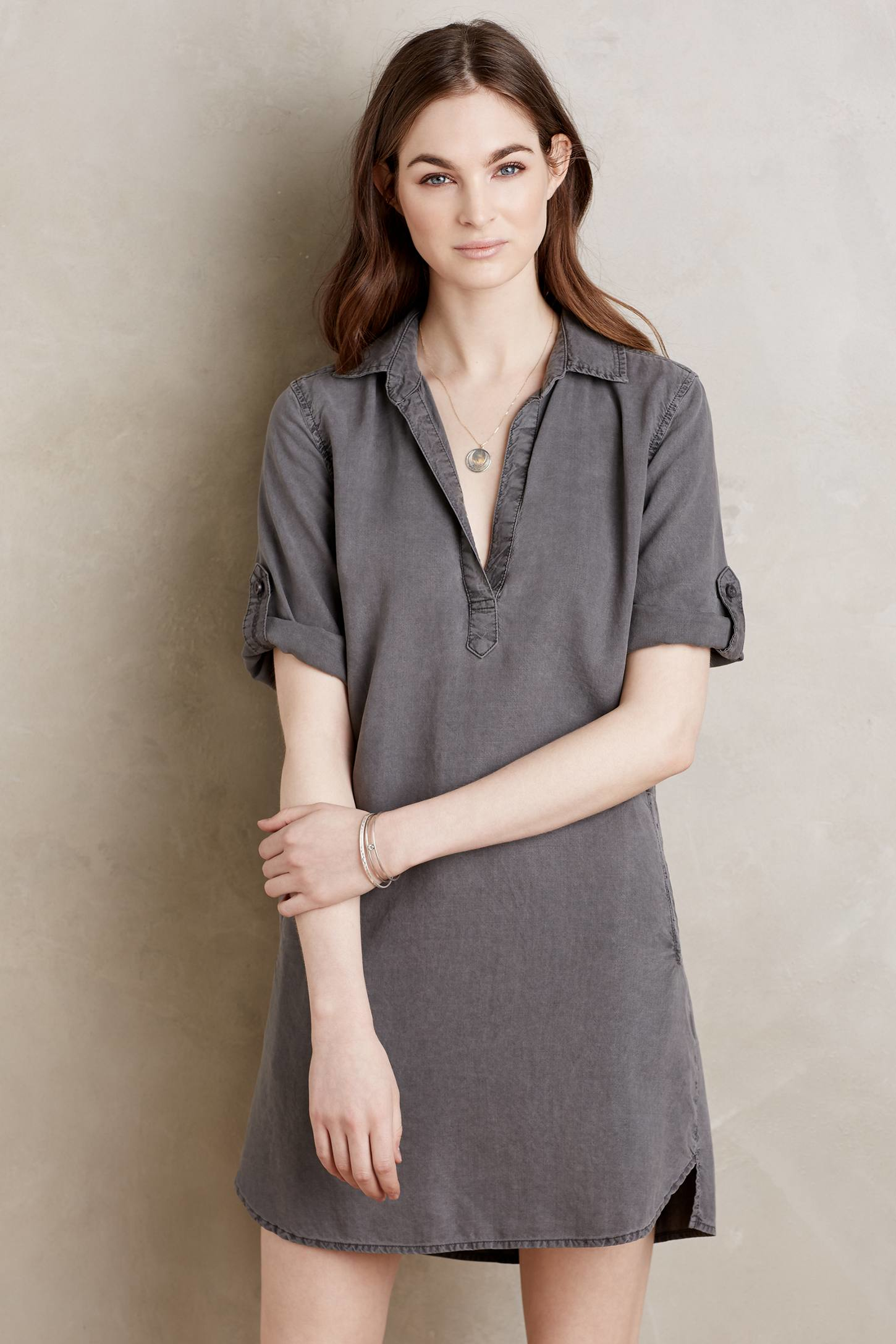 Cloth stone pembroke tunic dress grey in gray lyst for Is a tunic a dress or a shirt