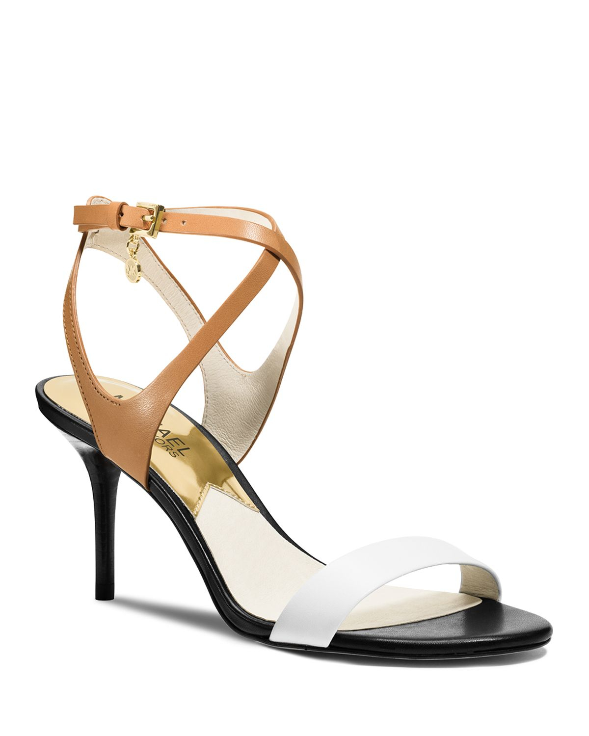 a6e65cfcd5bd Lyst - MICHAEL Michael Kors Strappy Sandals - Kaylee Mid Heel in White