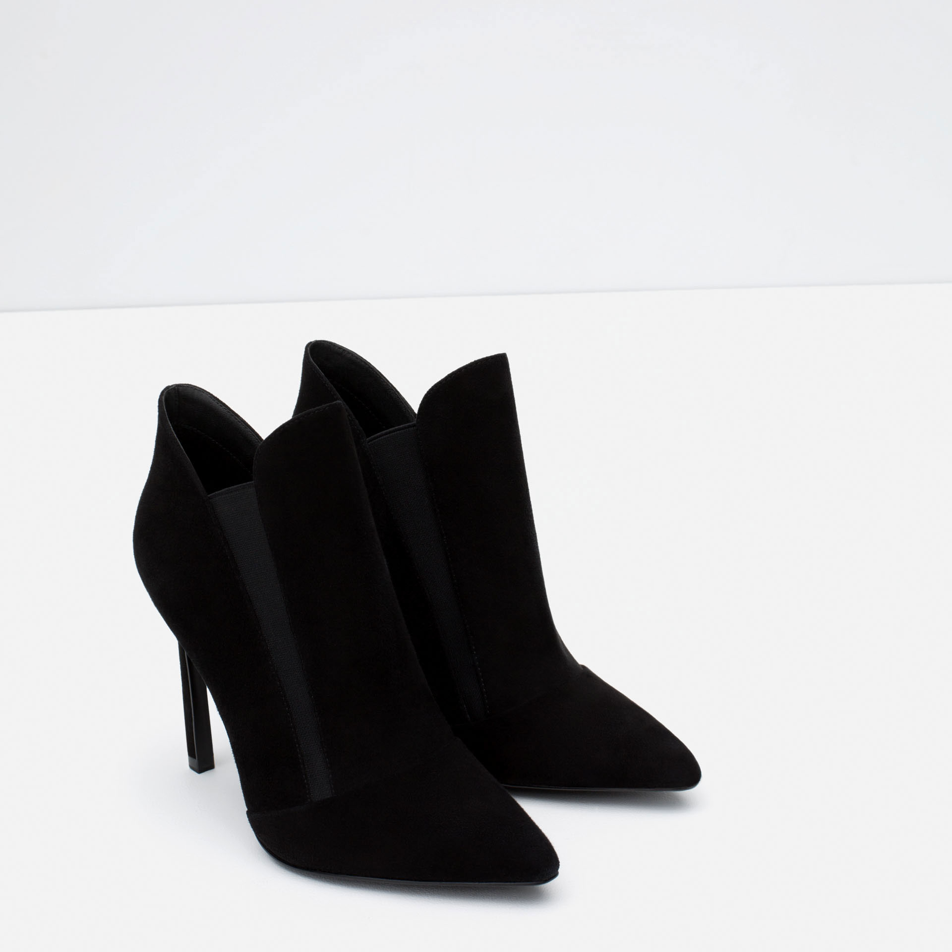 zara high heel stretch leather ankle boot in black lyst