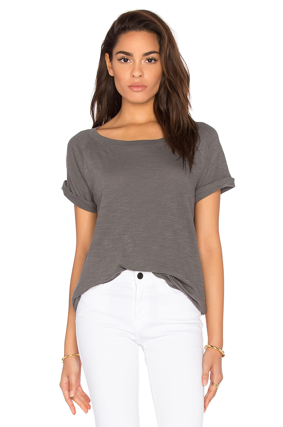 Vince short sleeve cotton slub tee in gray lyst for Vince tee shirts sale